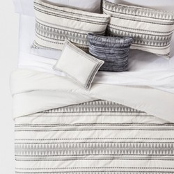 Cream Tatiana Global Woven Stripe Cotton Comforter Set 5pc