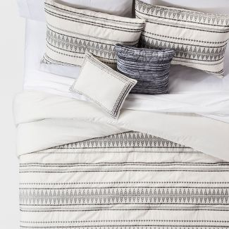 Cream Tatiana Global Woven Stripe Cotton Comforter Set (King) 5pc