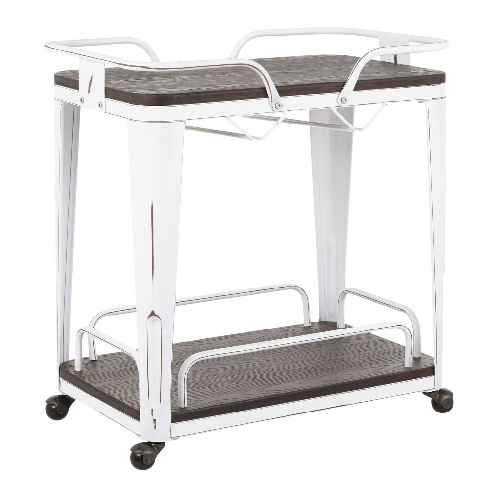 Oregon Industrial Bar Cart Vintage White/Espresso - LumiSource