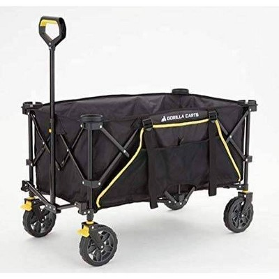 Gorilla Carts Collapsible Folding Outdoor Utility Wagon with Oversized Bed