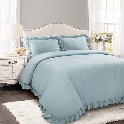 King 3pc Reyna Comforter & Sham Set Blue - Lush Décor