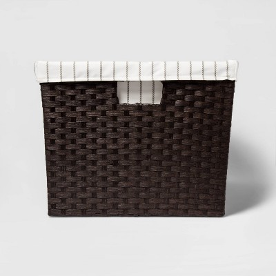 "12""x16""x20"" Lined Laundry Basket Dark Brown Weave - Threshold™"