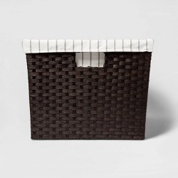"Lined Laundry Basket Dark Brown Weave 12""x16""x20"" - Threshold™"