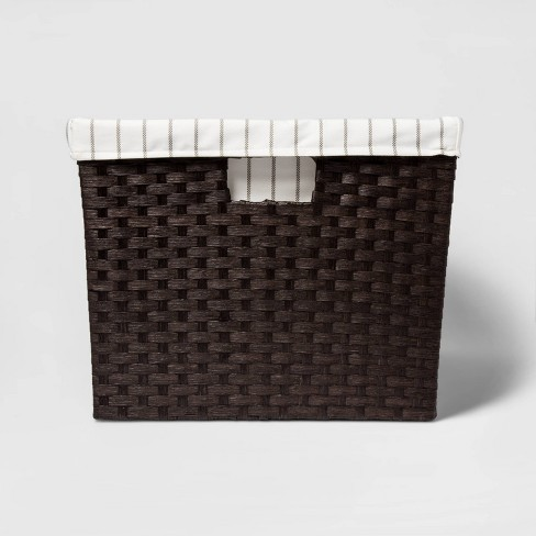 """12""""x16""""x20"""" Lined Weave Laundry Basket Dark Brown - Threshold™ - image 1 of 3"""