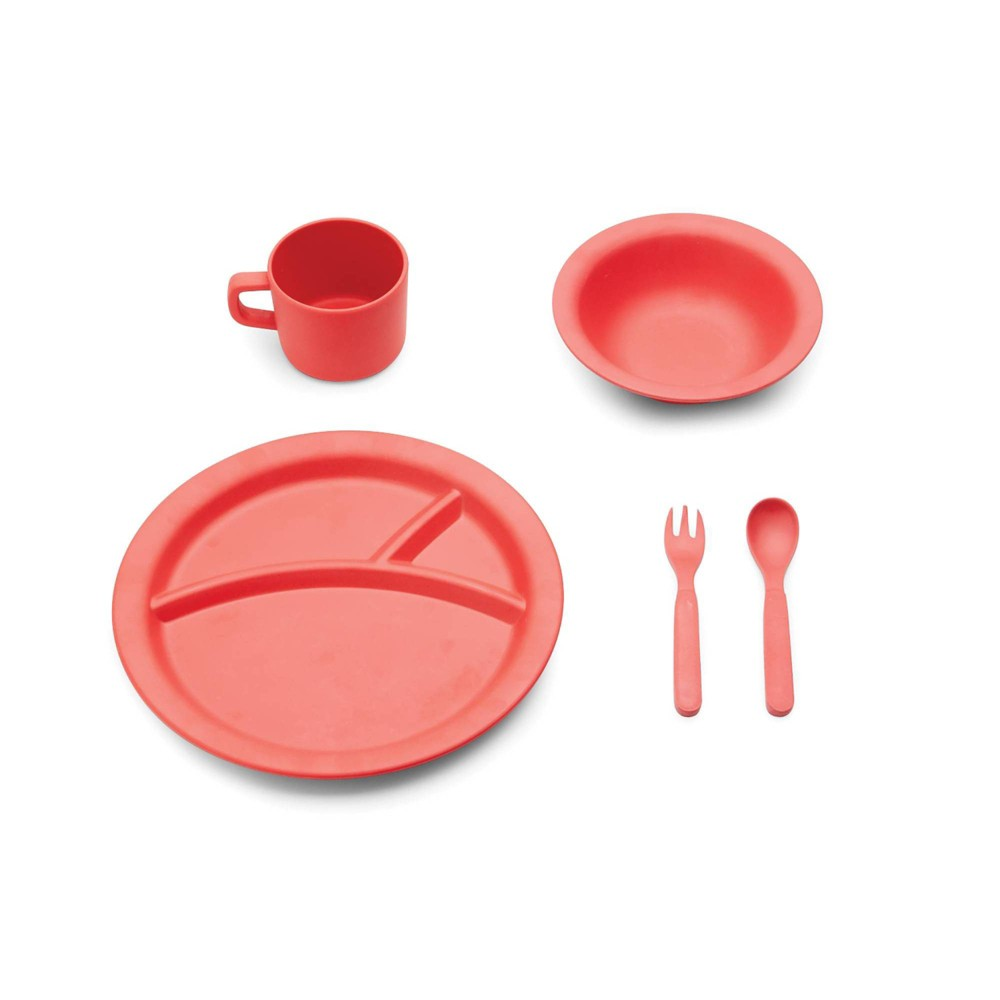 Image of 5pc Bamboo Fiber Kids Dinnerware Set Red - Red Rover