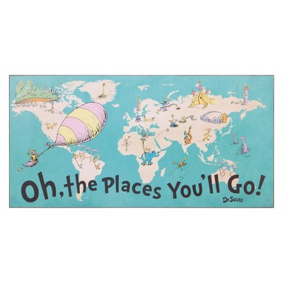 """40""""x20"""" Dr. Seuss Colorful Characters Oh The Places You'll Go World Map Stretched Canvas Wall Art"""