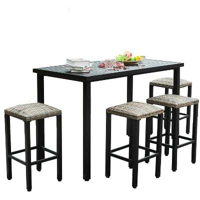 "5pc 56""x30"" Metal Table & Rattan Bar Stools - Captiva Designs"