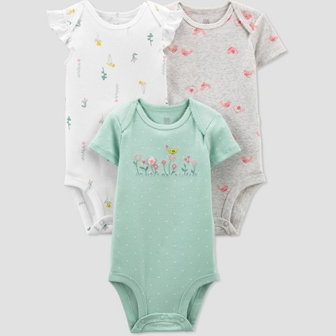 Baby Girls' 3pk Floral Bodysuit - Just One You® made by carter's Green/Gray/White - image 1 of 4