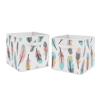 Feather Fabric Storage Bins - Sweet Jojo Designs