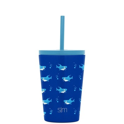 Simple Modern 12oz Stainless Steel Sharks Classic Water Bottle with Straw Blue