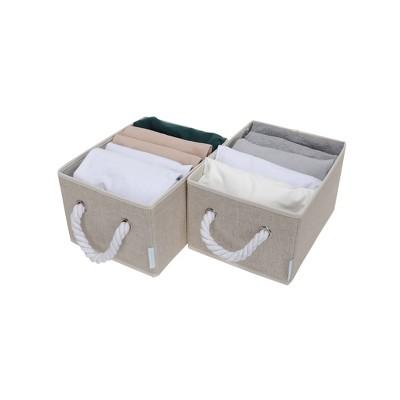 StorageWorks Set of 2 11L Fabric Storage Bins with Cotton Rope Handles Beige