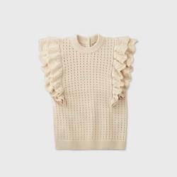 Women's Crewneck Crochet Sweater Vest - Who What Wear™ Cream