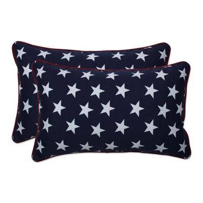 2pc Outdoor/Indoor Rectangular Throw Pillow Set Macey Americana Blue - Pillow Perfect