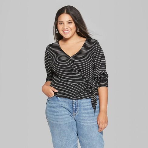 72f68b3a0d Women s Plus Size Striped Long Sleeve Tie Front Wra   Target