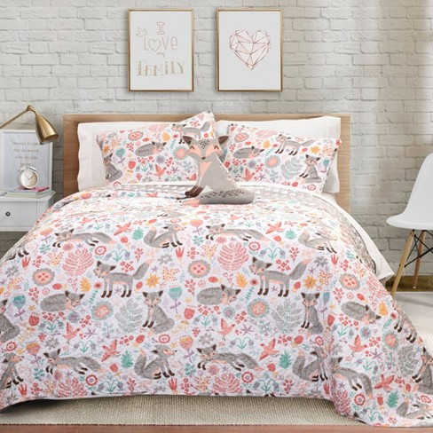 3pc Twin Pixie Fox Quilt Set With, Fox Bedding Set
