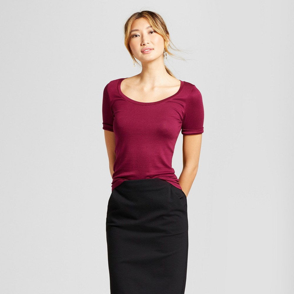 Women's Elbow Length Fitted T - Shirt - A New Day Cherry (Red) L