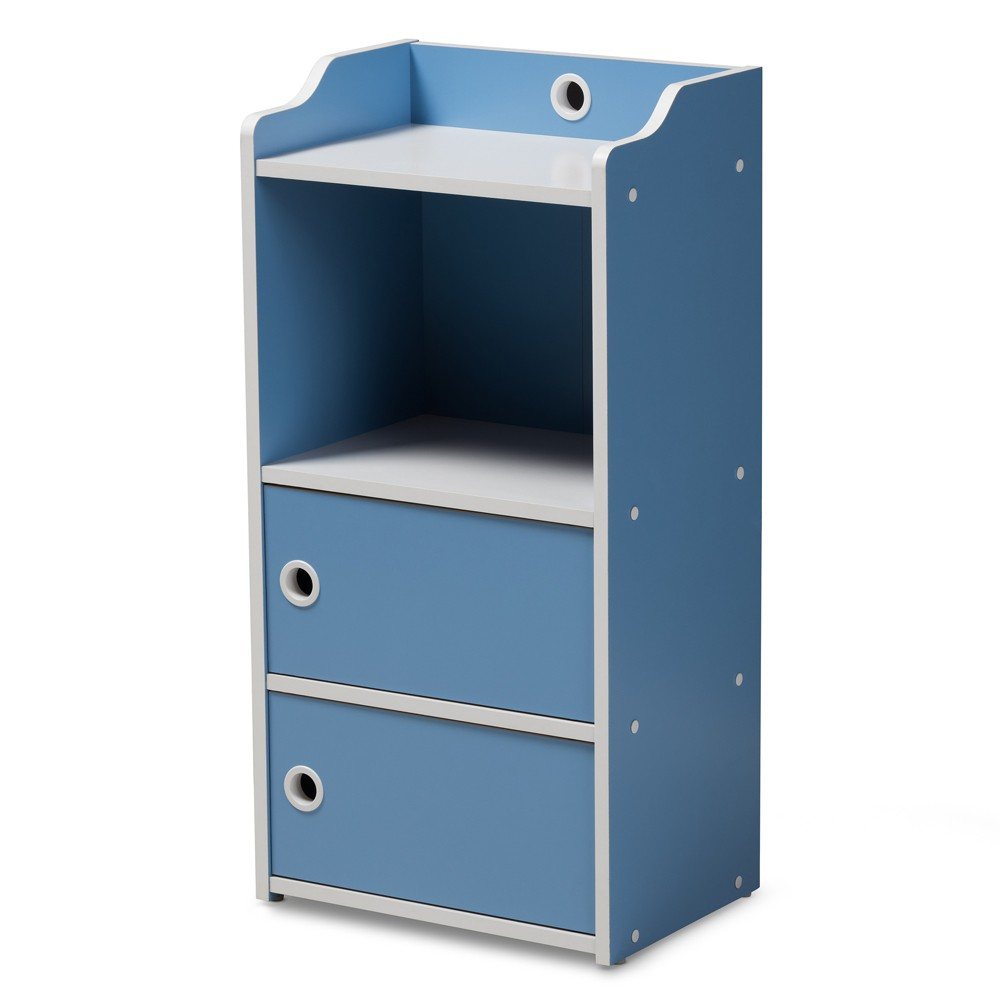 Image of Aeluin Contemporary Children's Finished 2 Door Bookcase Blue/White - Baxton Studio, White Blue