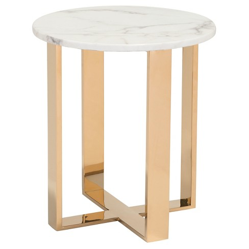 """Modern Faux Marble and Stainless Steel 18"""" Round End Table - Stone/Gold - ZM Home - image 1 of 4"""