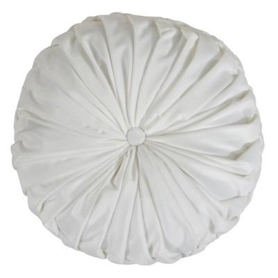"""14"""" Round Velvet Pintucked Poly Filled Throw Pillow White - Saro Lifestyle : Target"""