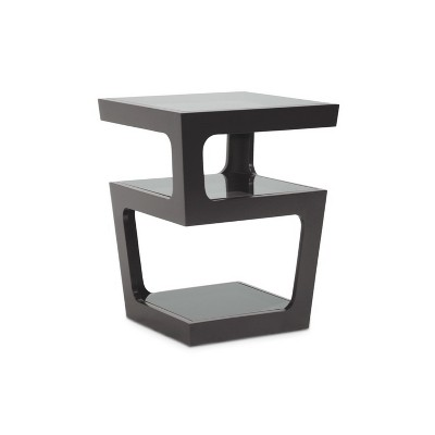 Clara Modern End Table With 3 Tieglass Shelves Black   Baxton Studio