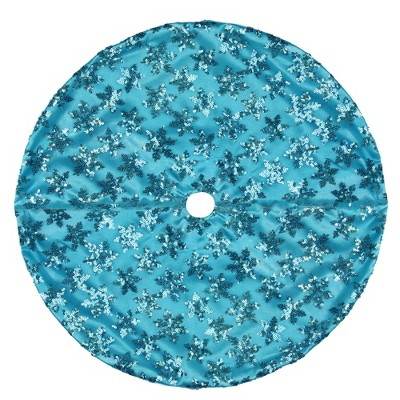 "Northlight 20"" Blue Sequin Snowflake Pattern Mini Christmas Tree Skirt"