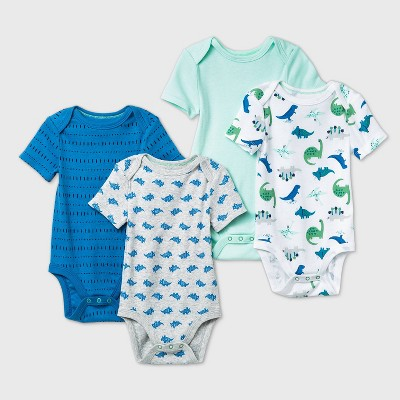 Baby Boys' 4pk Dino Dreams Short Sleeve Bodysuit - Cloud Island™ Blue 0-3M