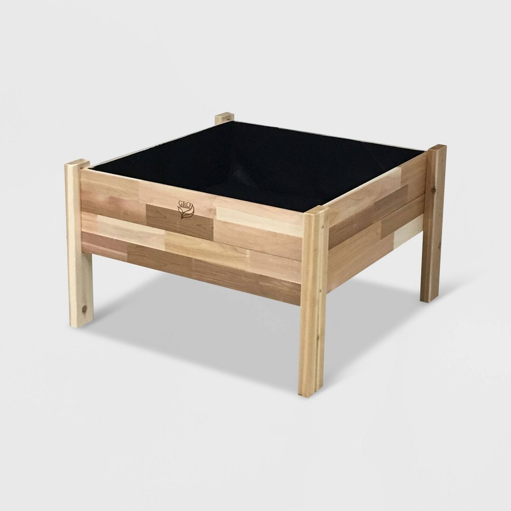 "Image of ""36"""" Elevated Rectangular Garden Bed Planter With Fitted Liner Cedar - GRO Products, Green"""