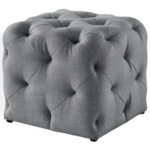 Light Grey Linen Ottoman - Leonard - Square Shaped - Modern in Gray - Posh Living - image 1 of 3