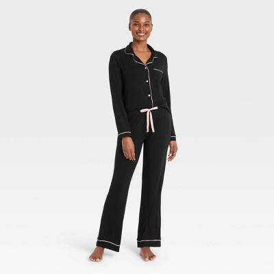 Women's Beautifully Soft Long Sleeve Notch Collar Top and Pants Pajama Set - Stars Above™