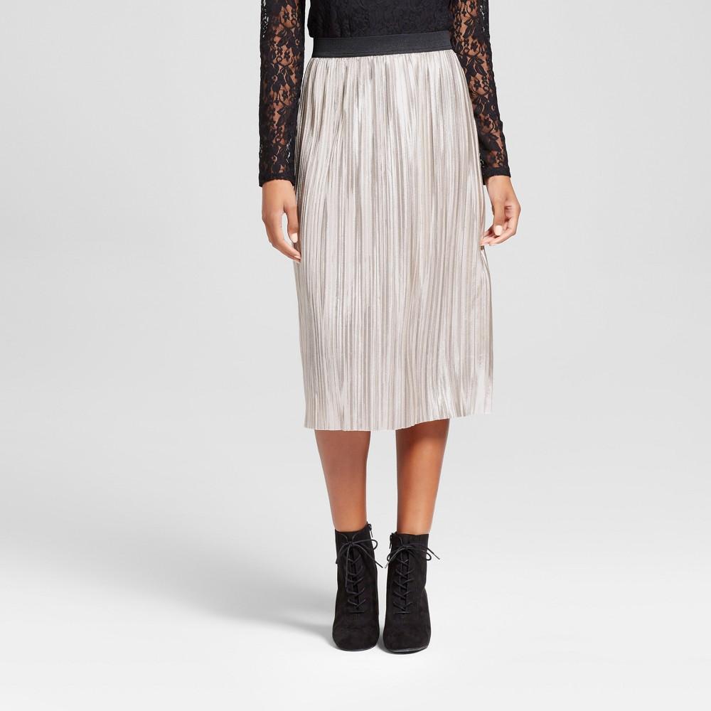 Women's Metallic Pleated Skirt - Xhilaration Silver M