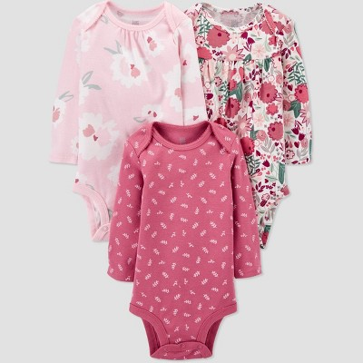Baby Girls' 3pk Floral Bodysuit - Just One You® made by carter's Pink/White 3M