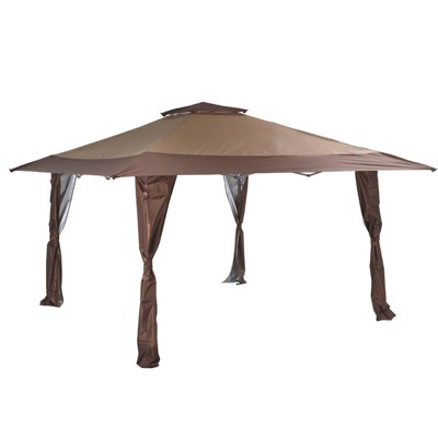 9' x 13' Outdoor Patio Pop-Up Canopy Tent with Wheeled Bag Brown - Captiva Designs