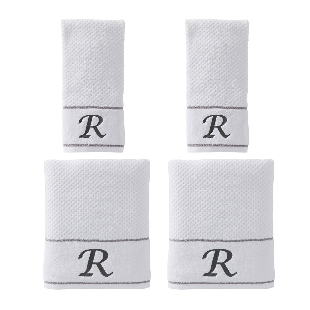 "Image of ""4pc """"R"""" Monogram Bath/Hand Towel Set White - SKL Home"""