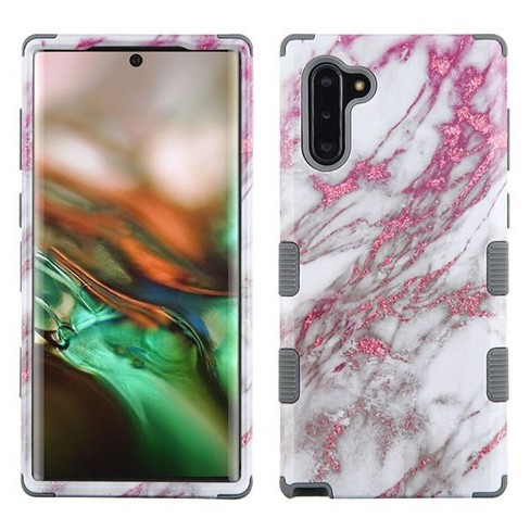 Insten Tuff Marble Hard Dual Layer Plastic TPU Case For Samsung Galaxy Note 10 - Pink/Gray - image 1 of 4