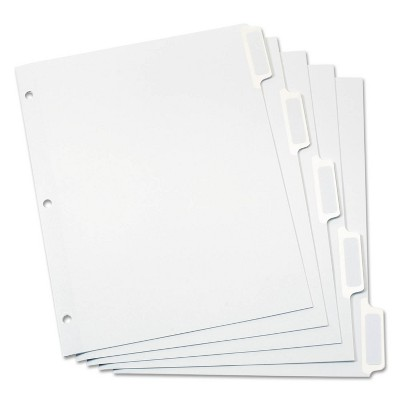 "Oxford 5-ct File Divider (5-Tab) - White (11""X8.5"")"