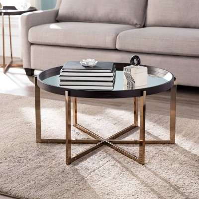 Moswick Round Cocktail Table with Mirrored Top Black/Champagne - Aiden Lane