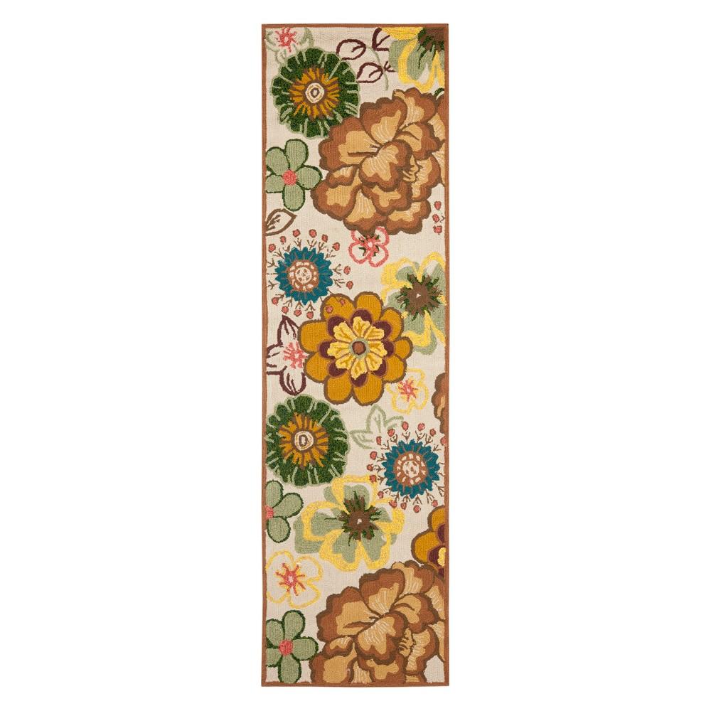 2'2X8' Floral Runner Ivory/Brown - Safavieh