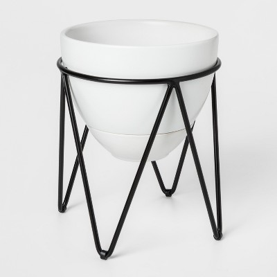 8  x 7.6  Ceramic Planter With Metal Stand White/Black - Project 62™