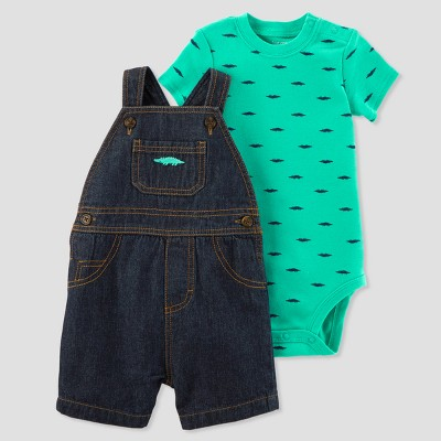 Baby Boys' 2pc Alligator Denim Shortall Set - Just One You® made by carter's Blue/Teal Newborn