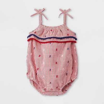 Baby Girls' Americana Clipspot Elevated Romper - Cat & Jack™ Red