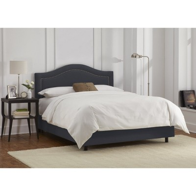 Skyline Furniture Merion Inset Nailbutton Bed - Navy (King) - Skyline Furniture , Blue