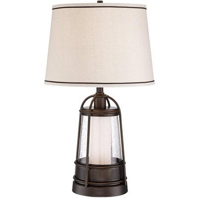 Franklin Iron Works Hugh Bronze Lantern Night Light Table Lamp with Table Top Dimmer