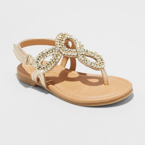 Toddler Girls' Flowers by Nina Minda Embellished Sandals - Gold 8 - image 1 of 3