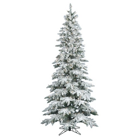7.5ft Pre-Lit Artificial Christmas Tree Full Flocked Narrow Pine - Clear  Lights - 7.5ft Pre-Lit Artificial Christmas Tree Full Flocke : Target