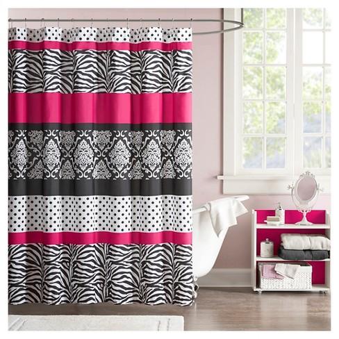 Dots Zebra Stripes Shower Curtain Pink