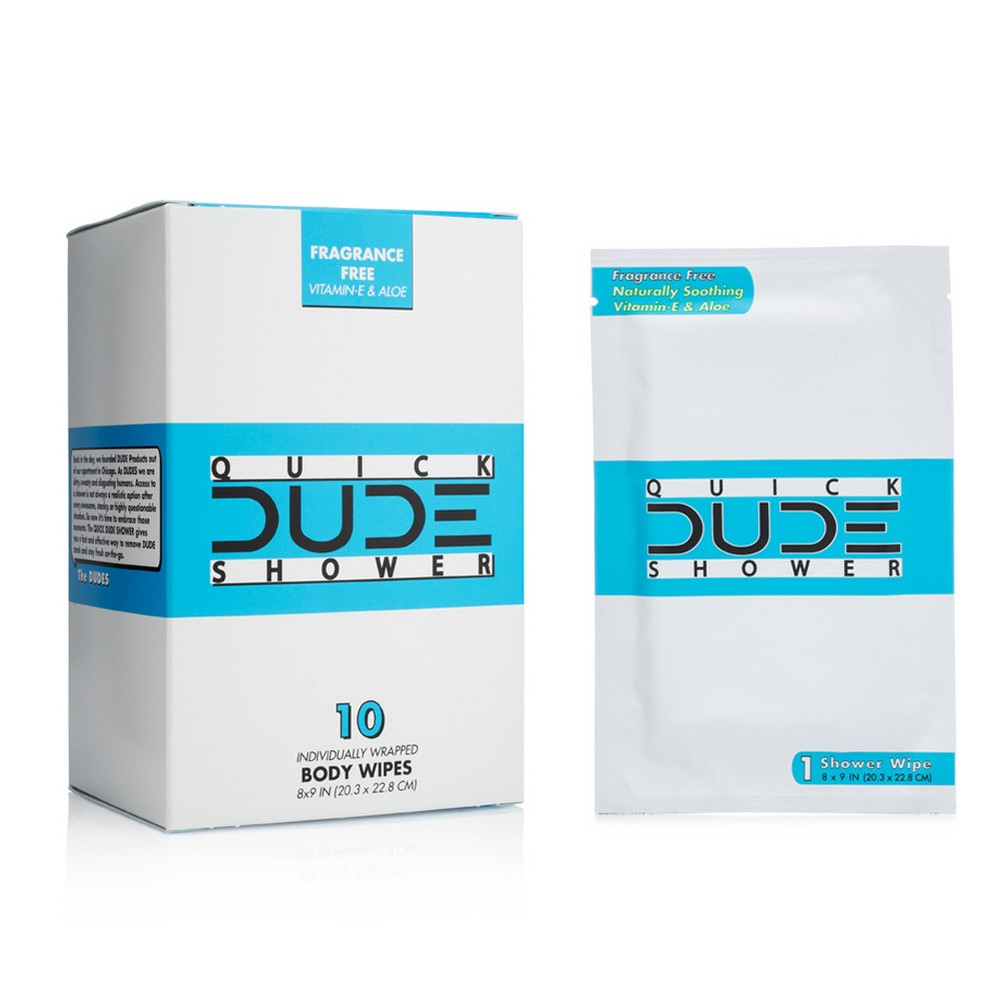 Dude Unscented Aloe and Hypoallergenic Shower Body Wipes - 10ct