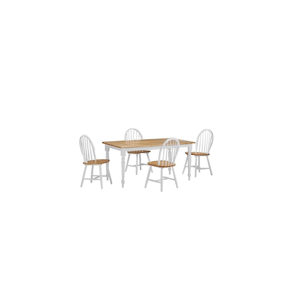 5 Piece Farmhouse Dining Set Wood/White/Natural - Boraam Industries