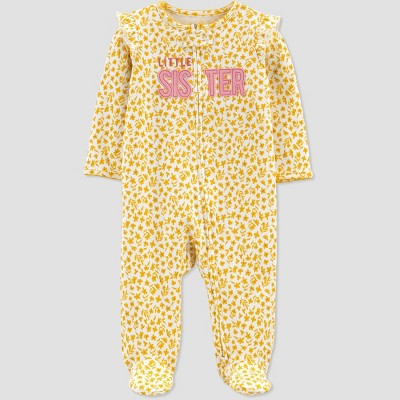 Baby Girls' Floral 'Little Sister' Interlock Footed Pajama - Just One You® made by carter's Gold Newborn