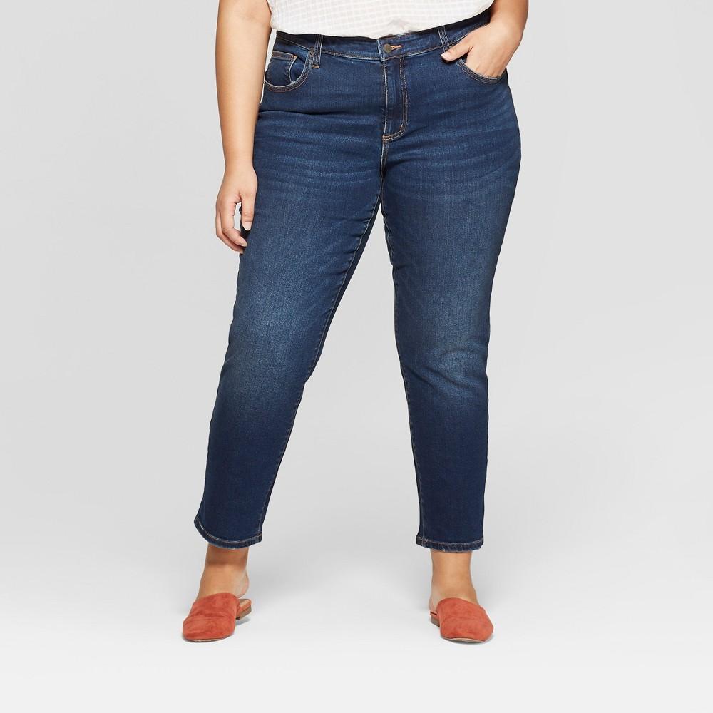 Women's Plus Size Cropped Girlfriend Jeans - Universal Thread Dark Wash 16W, Blue