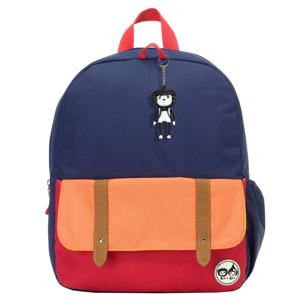"Image of ""Zip & Zoe Junior 15"""" Kids' Backpack - Navy Color Block, Kids Unisex, Size: Small, Blue"""